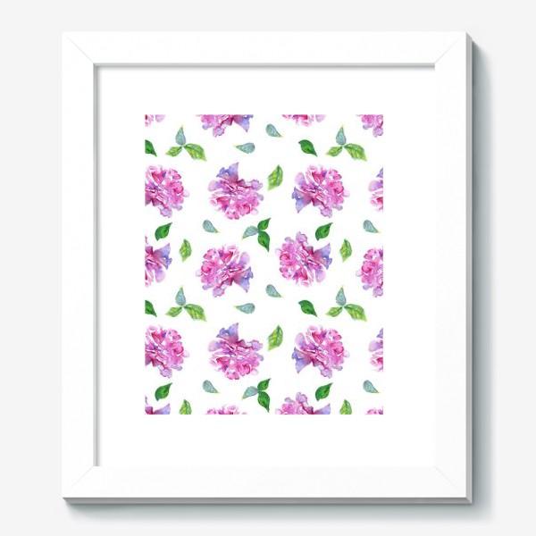 Картина «Акварельные нежные фиолетоавые цветы Пионы и листья на белом фоне»