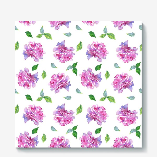 Холст «Акварельные нежные фиолетоавые цветы Пионы и листья на белом фоне»