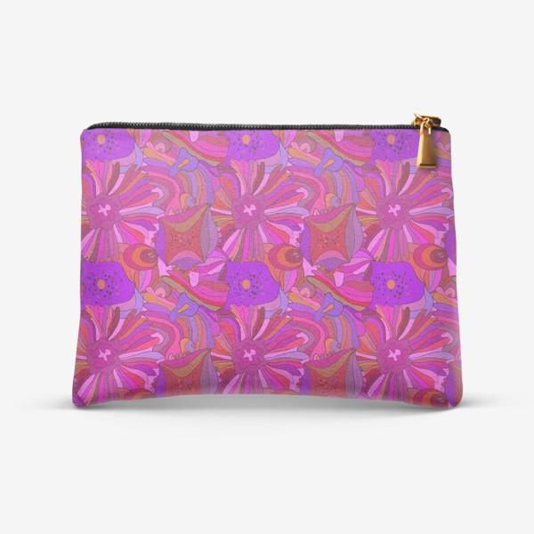 Косметичка «Абстрактный геометрический розовый. фиолетовый, сиреневый узор с экзотическими лепестками и формами»