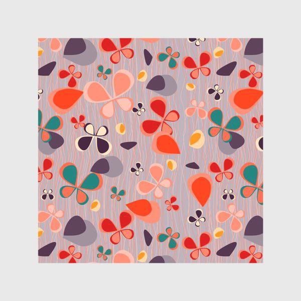 Скатерть «яркий узор с авбтрактными бабочками и полосками. Нежно фиолетовый с краснами, желтыми и темнами пятнамии»