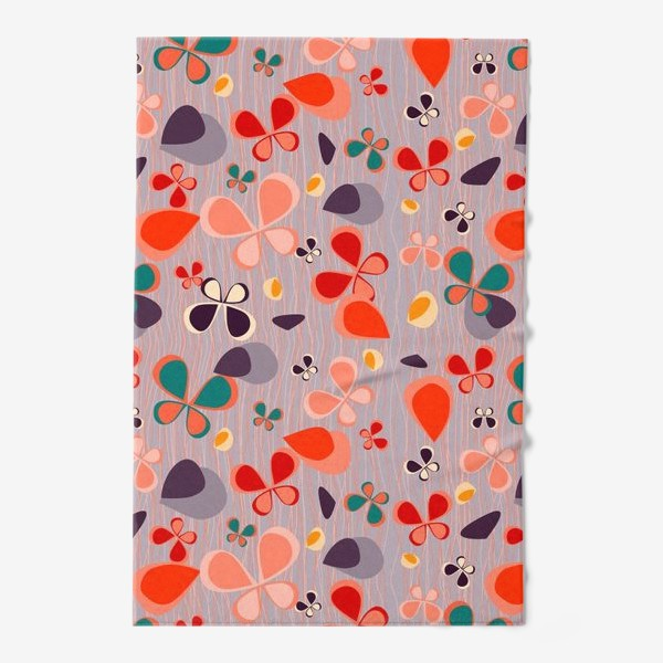 Полотенце «яркий узор с авбтрактными бабочками и полосками. Нежно фиолетовый с краснами, желтыми и темнами пятнамии»