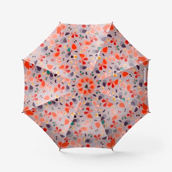 Зонт «яркий узор с авбтрактными бабочками и полосками. Нежно фиолетовый с краснами, желтыми и темнами пятнамии»