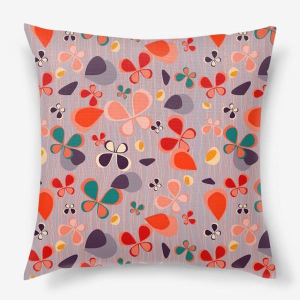 Подушка «яркий узор с авбтрактными бабочками и полосками. Нежно фиолетовый с краснами, желтыми и темнами пятнамии»