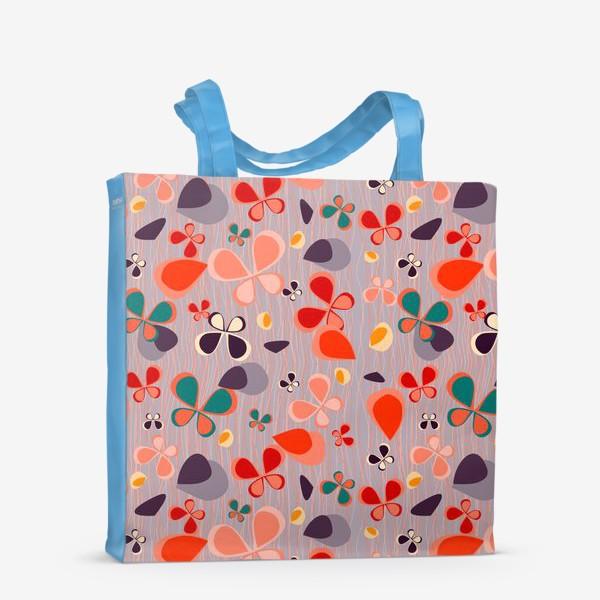 Сумка-шоппер «яркий узор с авбтрактными бабочками и полосками. Нежно фиолетовый с краснами, желтыми и темнами пятнамии»