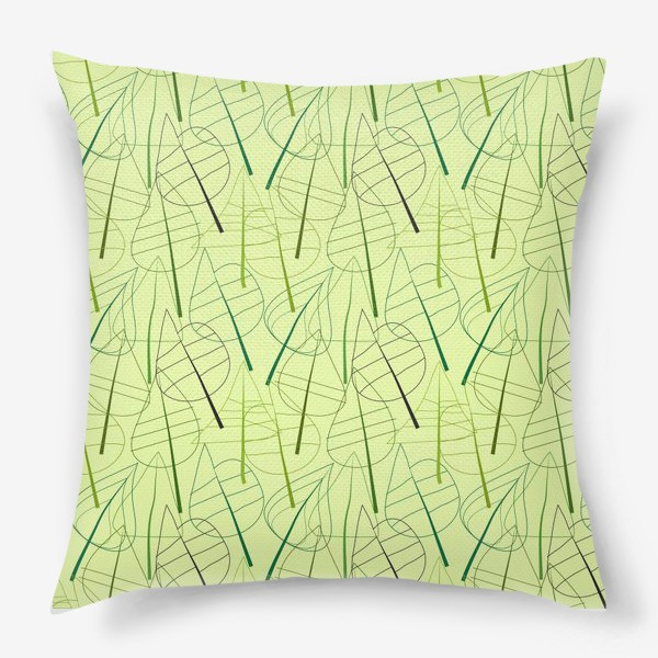 Подушка «Зеленый свктлый фон с овбсрактными листьями, нарисованные только линиями»