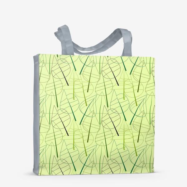 Сумка-шоппер «Зеленый свктлый фон с овбсрактными листьями, нарисованные только линиями»
