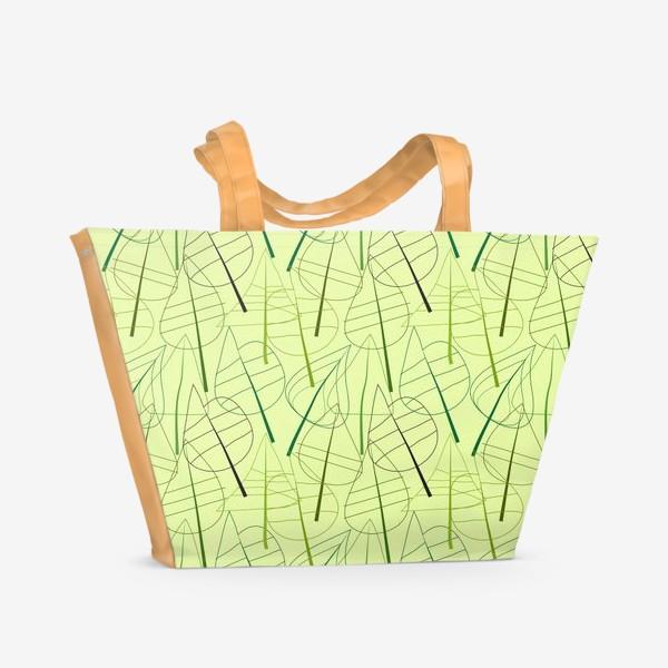 Пляжная сумка «Зеленый свктлый фон с овбсрактными листьями, нарисованные только линиями»
