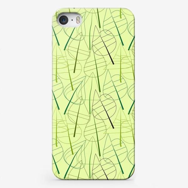 Чехол iPhone «Зеленый свктлый фон с овбсрактными листьями, нарисованные только линиями»