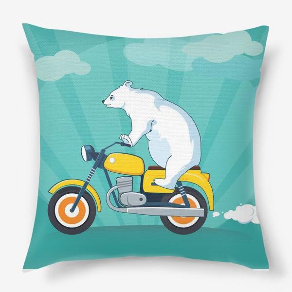 Подушка «Медведь на мотоцикле»
