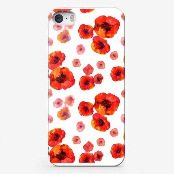 Чехол iPhone «Акварельные нежные маки на белом фоне. Безшовный узор»
