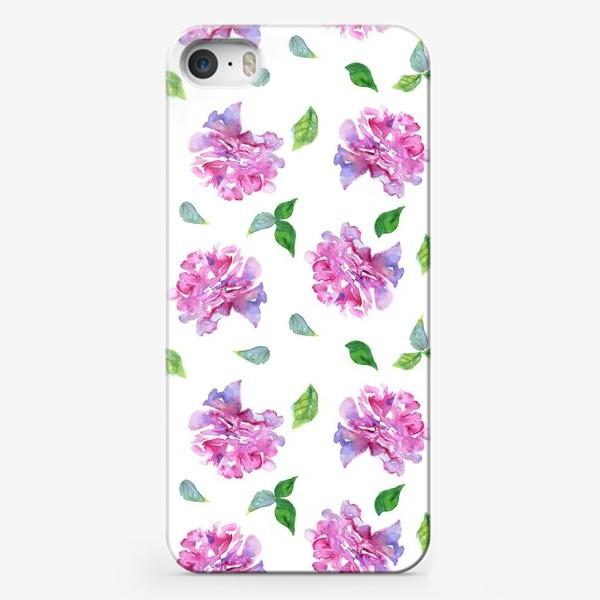 Чехол iPhone «Акварельные нежные фиолетоавые цветы Пионы и листья на белом фоне»