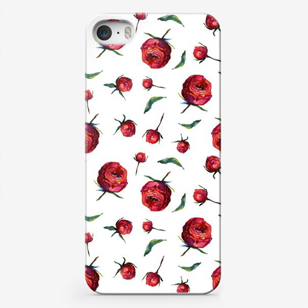 Чехол iPhone «Акварельные нежные красные розы и листья на белом фоне»