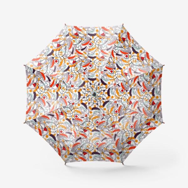 Зонт «Абстрактный разноцветный узор в серой, розовой и растельной гамме с обтекаемыми мягкими формами.»