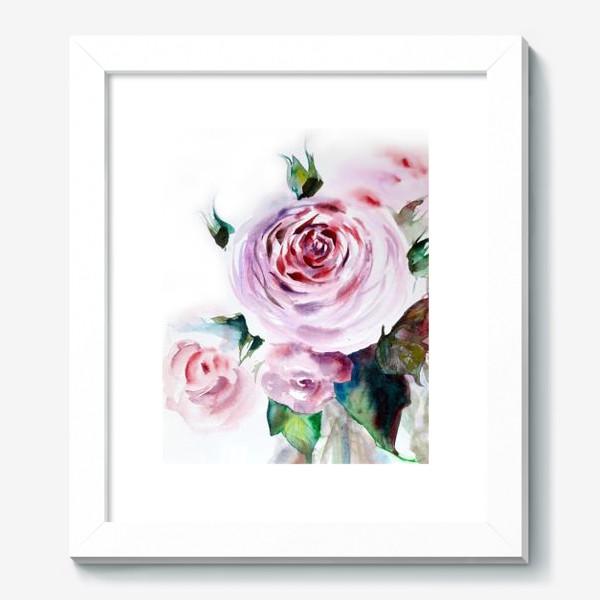 Картина «Акварельный нежный букет розовых роз на белом фоне»