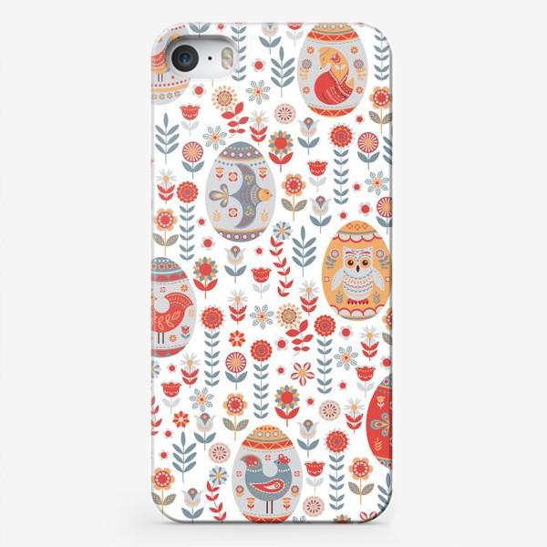 Чехол iPhone «Пасхальный яйца с животными и птицами. »