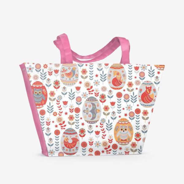 Пляжная сумка «Пасхальный яйца с животными и птицами. »