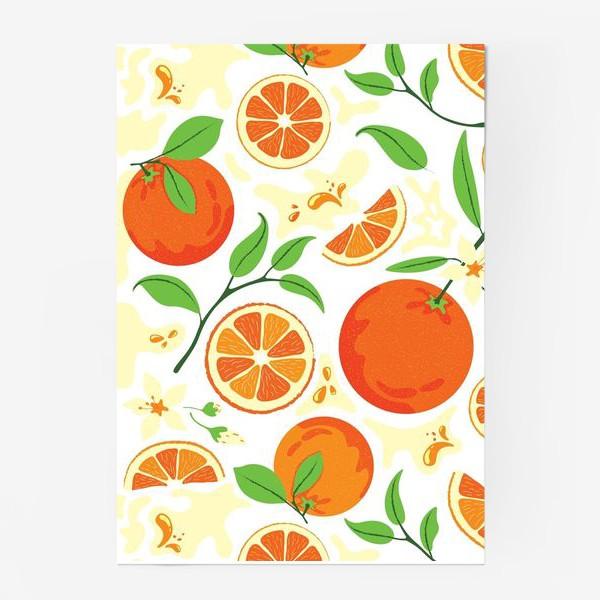 Постер «Сочные оранжевые апельсины с листьями, паттерн»