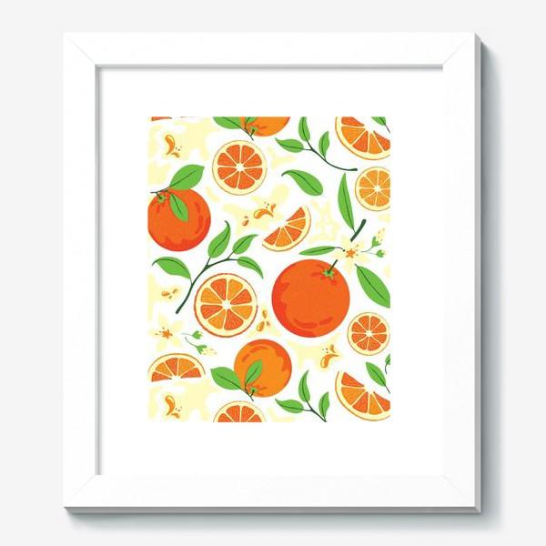 Картина «Сочные оранжевые апельсины с листьями, паттерн»