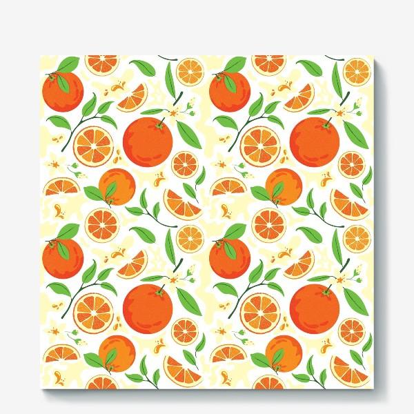 Холст «Сочные оранжевые апельсины с листьями, паттерн»