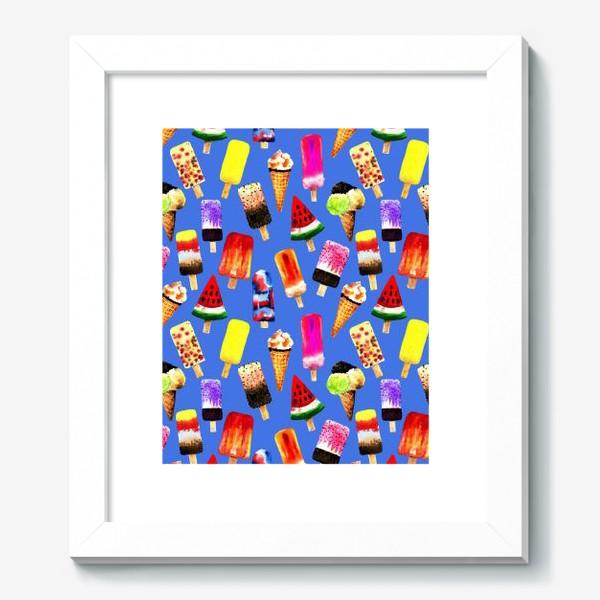 Картина «Акварельное разное и яркое мороженное на синем фоне. Безшовный узор»