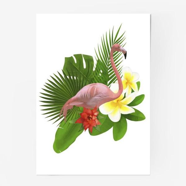 Постер «Розовый фламинго в пальмовых листах»