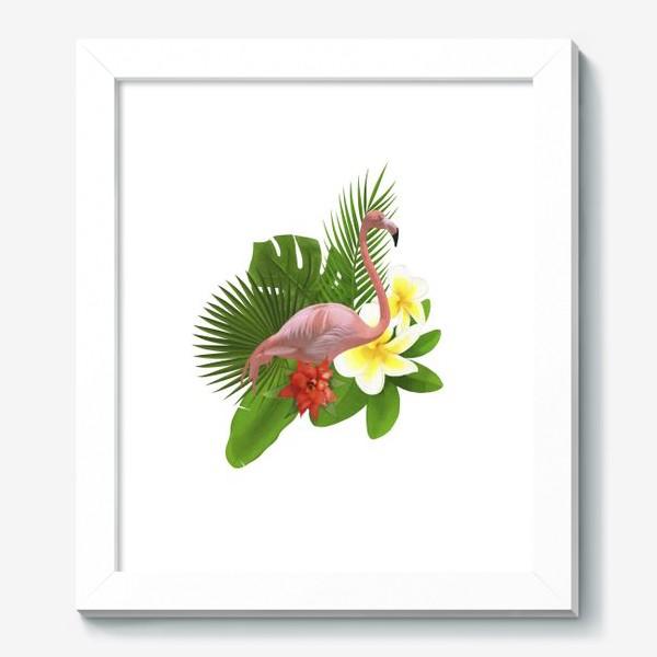 Картина «Розовый фламинго в пальмовых листах»