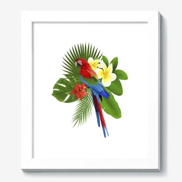 Картина «Попугай Ара в пальмовых листах»