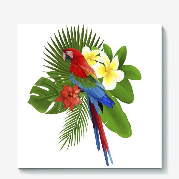 Холст «Попугай Ара в пальмовых листах»