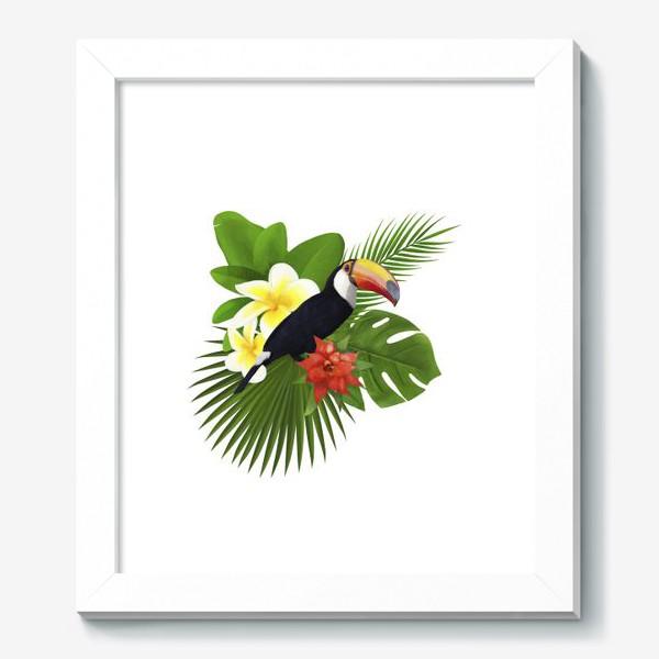 Картина «Тукан. Пальма. Плюмерия. Ананас»