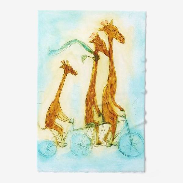Полотенце «жирафы на велосипеде»