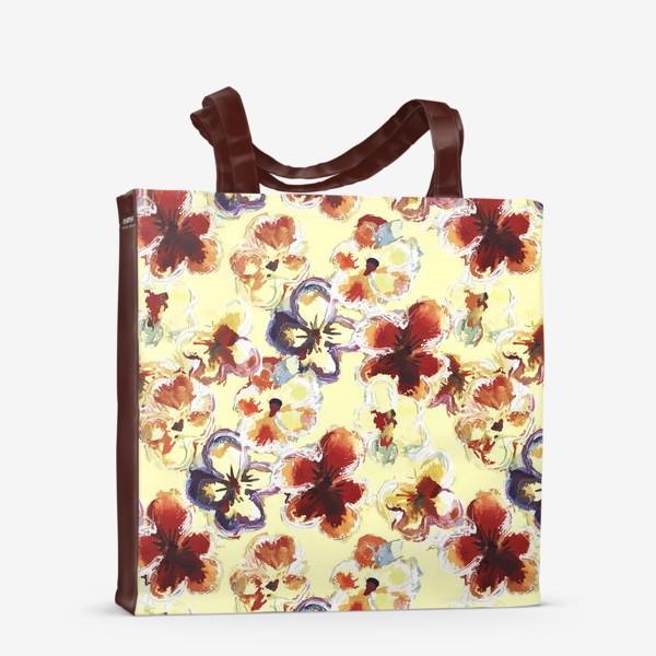Сумка-шоппер «Цветы. Анютины глазки акварелью.»