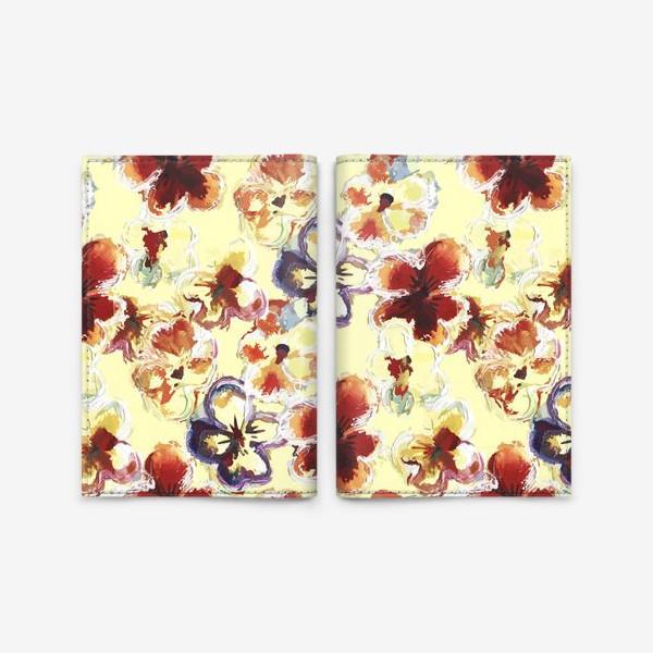 Обложка для паспорта «Цветы. Анютины глазки акварелью.»