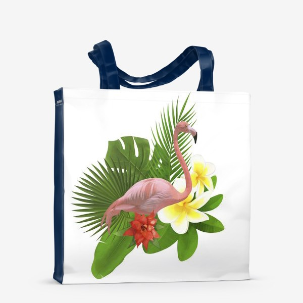 Сумка-шоппер «Розовый фламинго в пальмовых листах»