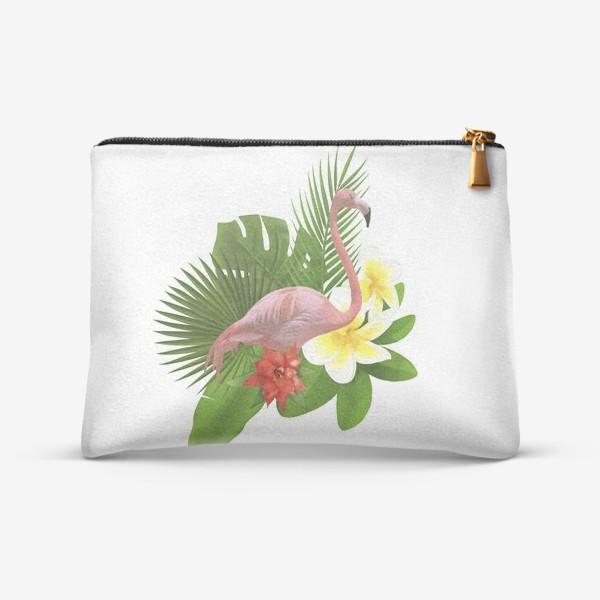 Косметичка «Розовый фламинго в пальмовых листах»