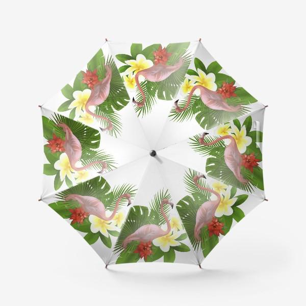 Зонт «Розовый фламинго в пальмовых листах»
