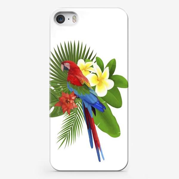 Чехол iPhone «Попугай Ара в пальмовых листах»