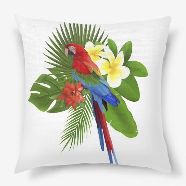 Подушка «Попугай Ара в пальмовых листах»