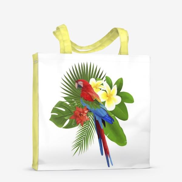 Сумка-шоппер «Попугай Ара в пальмовых листах»