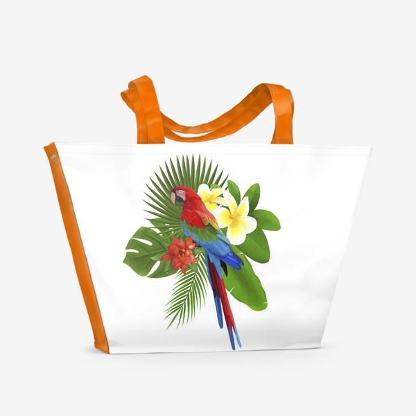 Пляжная сумка «Попугай Ара в пальмовых листах»