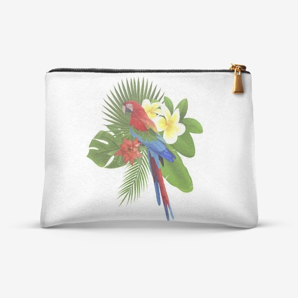 Косметичка «Попугай Ара в пальмовых листах»