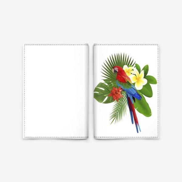 Обложка для паспорта «Попугай Ара в пальмовых листах»