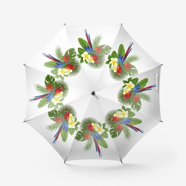 Зонт «Попугай Ара в пальмовых листах»