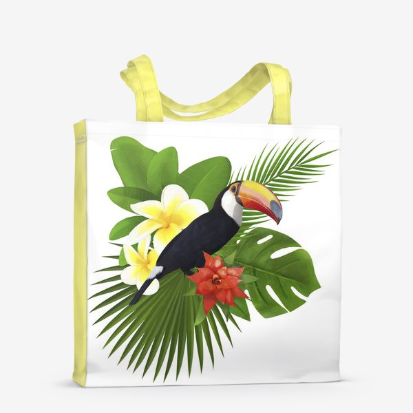 Сумка-шоппер «Тукан. Пальма. Плюмерия. Ананас»