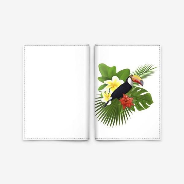 Обложка для паспорта «Тукан. Пальма. Плюмерия. Ананас»