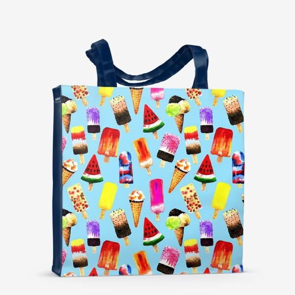 Сумка-шоппер «Акварельное разное и яркое мороженное на голубом фоне. Безшовный узор»