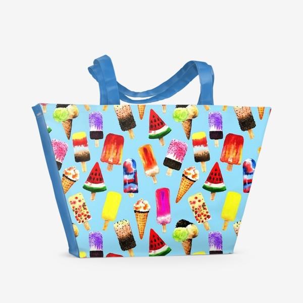 Пляжная сумка «Акварельное разное и яркое мороженное на голубом фоне. Безшовный узор»