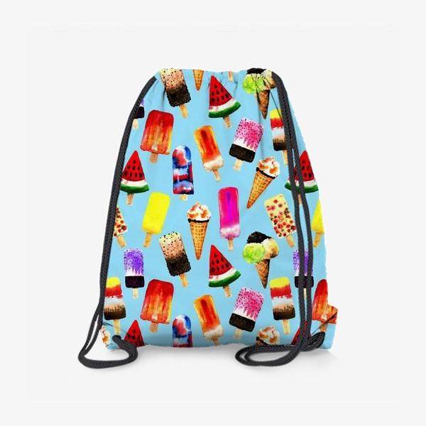 Рюкзак «Акварельное разное и яркое мороженное на голубом фоне. Безшовный узор»