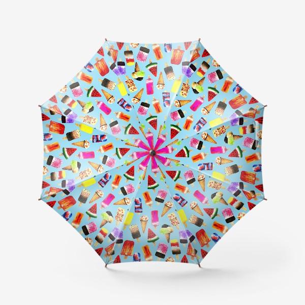 Зонт «Акварельное разное и яркое мороженное на голубом фоне. Безшовный узор»