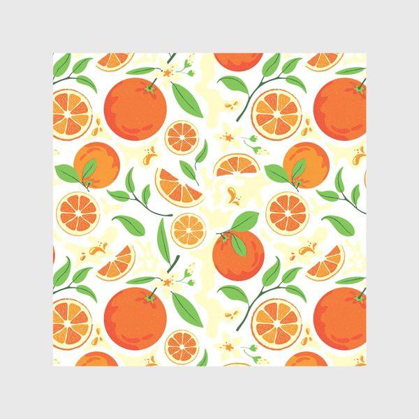 Скатерть «Сочные оранжевые апельсины с листьями, паттерн»