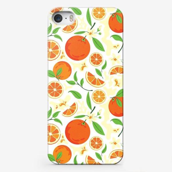 Чехол iPhone «Сочные оранжевые апельсины с листьями, паттерн»